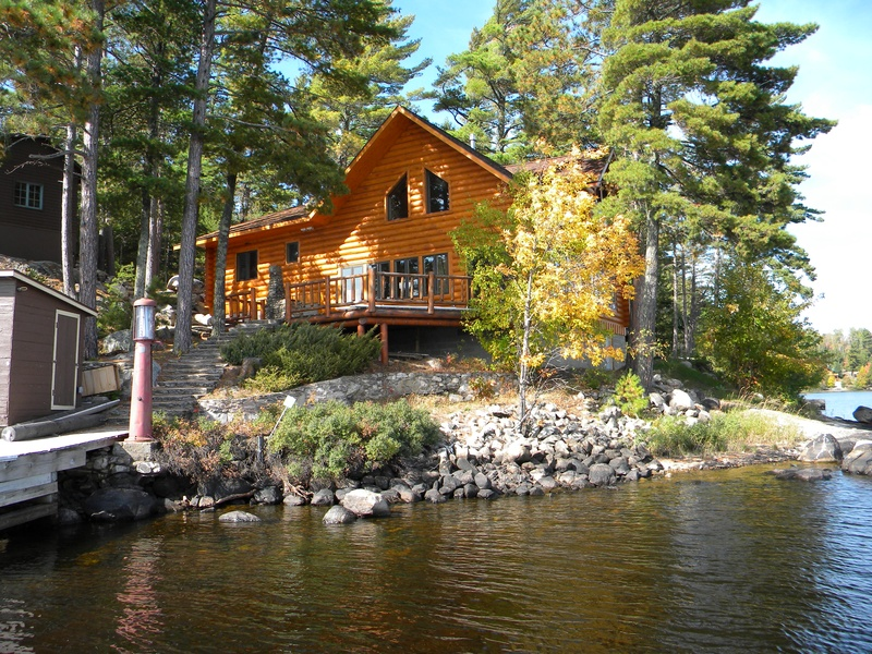 New Log Cabin With Dock And Front Deck